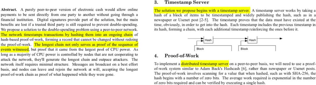 بخشی از وایتپیپر بیت کوین؛ بخشهای اشاره شده به زنجیره زمانی