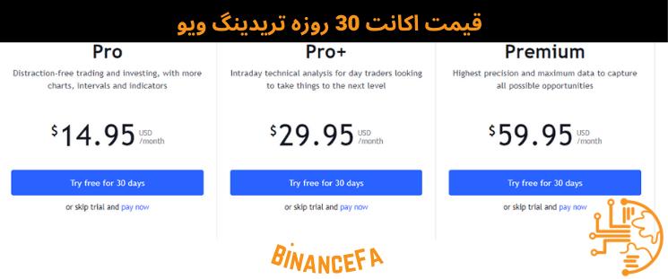 قیمت اکانت 30 روزه تریدینگ ویو (tradingview)